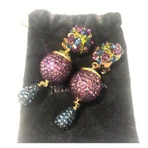 Judith jack retro clip on crystal ball earrings